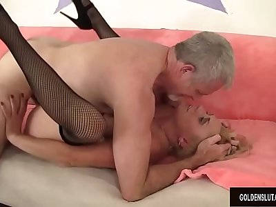 Mature woman Cristine Ruby sucking and fucking