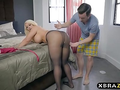 BBW stepmom is horny and wants a young cock in her big ass