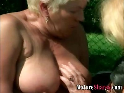 Amazing granny plumper outdoor